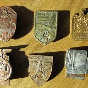 LOT OF SIX (6) ORIGINAL HEAVY THIRD REICH BADGES