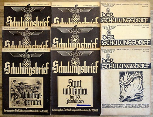 """LOT OF NINE 1937 ISSUES OF THE NAZI PROPAGANDA PHOTO PUBLICATION """"DER SCHULUNGSBRIEF"""""""