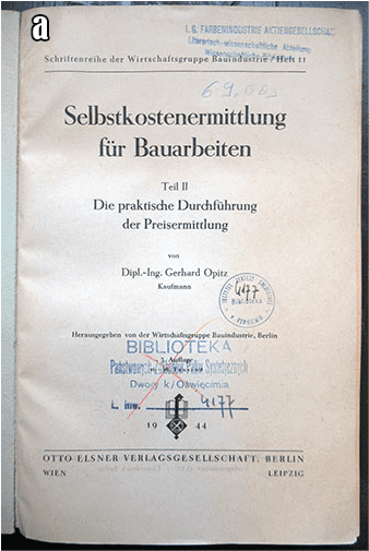 BOOKS FROM THE I.G. FARBEN LIBRARY AT AUSCHWITZ CONCENTRATION CAMP a