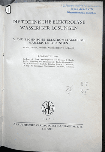 BOOKS FROM THE I.G. FARBEN LIBRARY AT AUSCHWITZ CONCENTRATION CAMP d