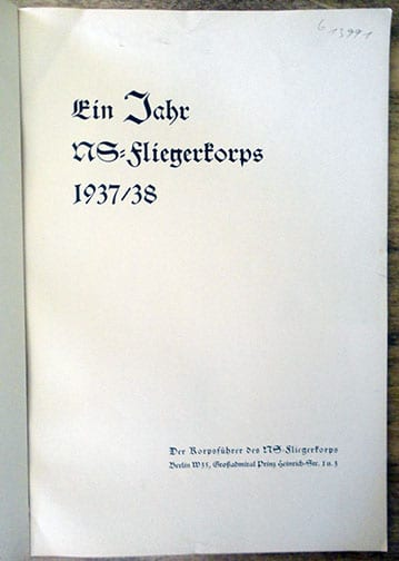 1938 PHOTO BOOK ON THE FIRST YEAR OF THE NSFK