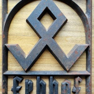 VERY RARE ORIGINAL CAST IRON ERBHOF SIGN