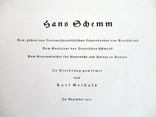 1933 NSDAP GAULEITER HANS SCHEMM SIGNED BOOK ABOUT HIMSELF