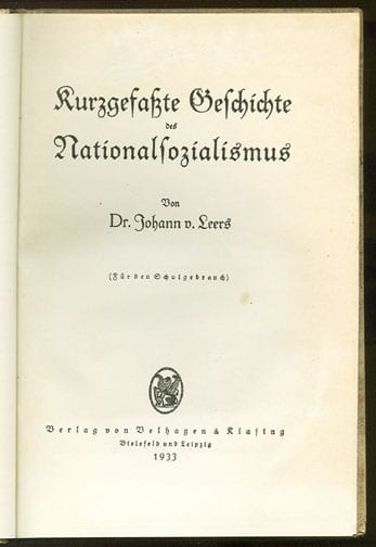 933 THIRD REICH SCHOOL BOOK ON THE HISTORY OF THE N.S.DA.P.