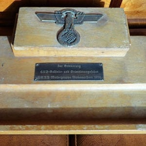RARE ORIGINAL 1939 N.S.K.K. DESK INK STAND WITH DEDICATION PLAQUE