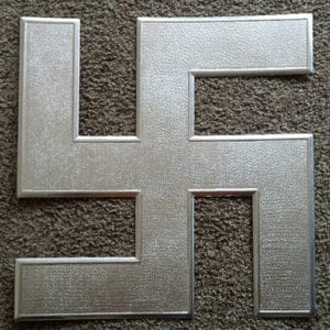 RZM MARKED 19x19 inch SILVER CARDBOARD SWASTIKA ORNAMENT