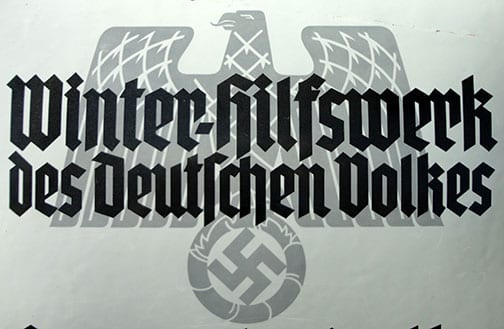 NAZI WINTER AID (WHW) ENAMEL SIGN